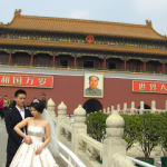 Would you want to have your wedding picture taken with Chairman Mao? Apparently lots of newly weds do.