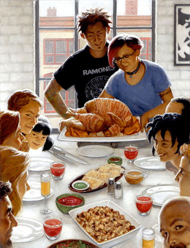 thanksgiving hipster family wishing we were cool like that Norman Rockwell can take the turkey and stuff it!