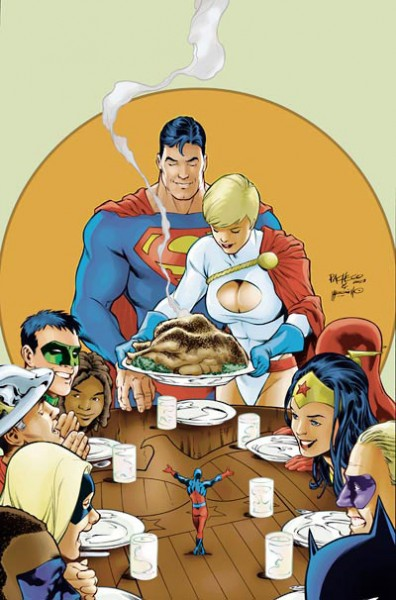 thanksgiving super heroes 396x600 Happy Thanksgiving to all! Except, well, the bird...