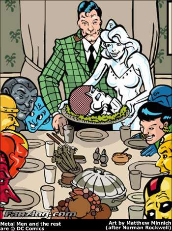 Metal Men Rockwell Thanksgiving Norman Rockwell can take the turkey and stuff it!