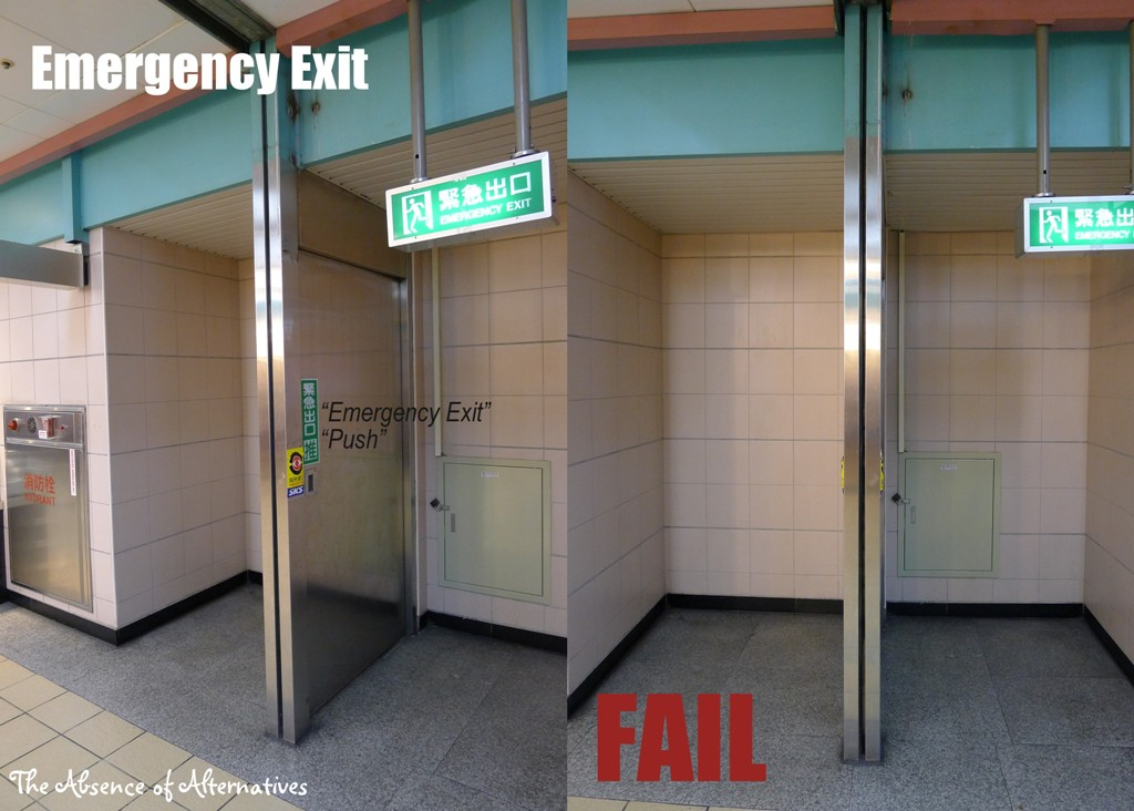 Emergency Exit Fail1 Double Whammy Wednesday   WTF and Wordless