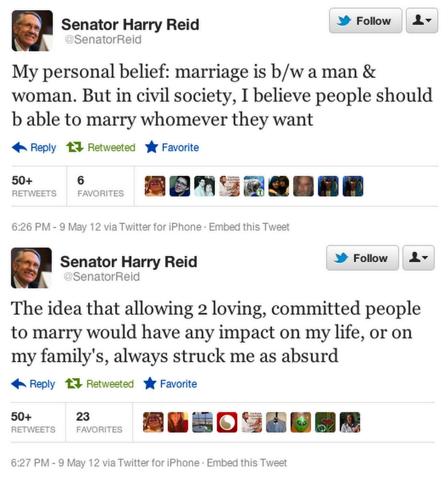 Harry Reid tweets Lets make it official
